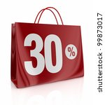 one shopping bag with the number thirty and the percent symbol (3d render) - stock photo