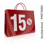 one shopping bag with the number fifteen and the percent symbol (3d render) - stock photo