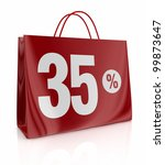 one shopping bag with the number thirty five and the percent symbol (3d render) - stock photo
