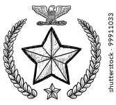 Doodle style military rank insignia for US Army including star and wreath - stock vector