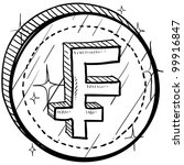 Doodle style coin with currency symbol - Franc - stock vector