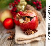 Roast apple with christmas spices - stock photo