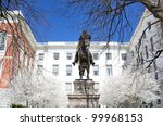 Joseph Hooker Statue at the Massachusetts State House in Boston, Massachusetts. - stock photo