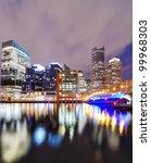 Boston, Massachusetts nighttime cityscape - stock photo