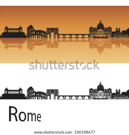 rome skyline in orange