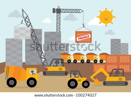 Construction site equipment vector Free Vector / 4Vector