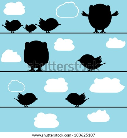 silhouette of birds owl on a