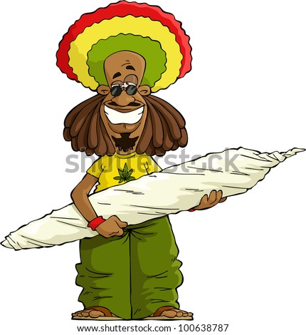 rastaman with a large marijuana