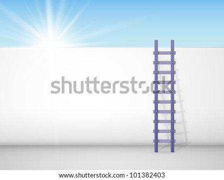 ladder against a wall  behind