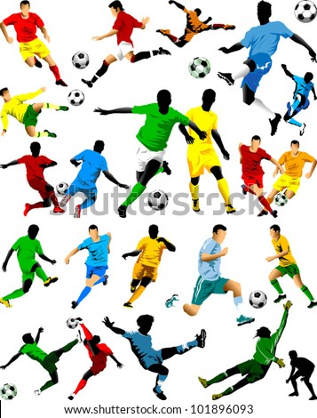 collection of soccer players in
