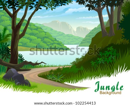 tropical jungle trees and