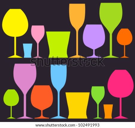 set of colorful drink glasses