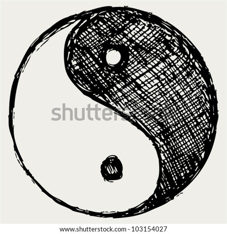 ying yang sketch symbol