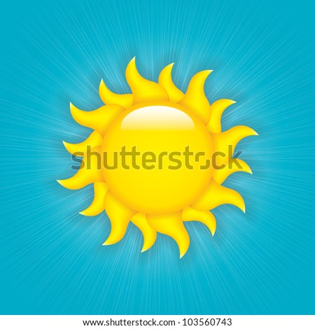 vector sun symbol on blue