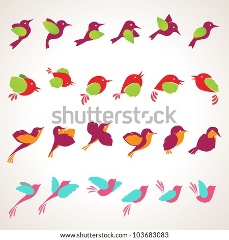 set of different vector birds