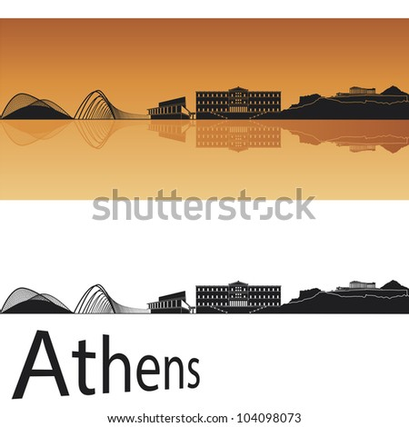 athens skyline in orange