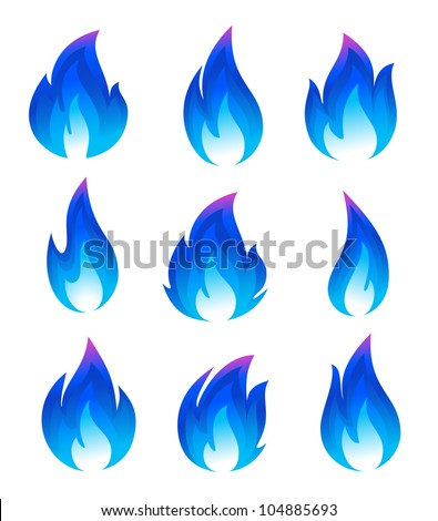 collection of blue fire icons