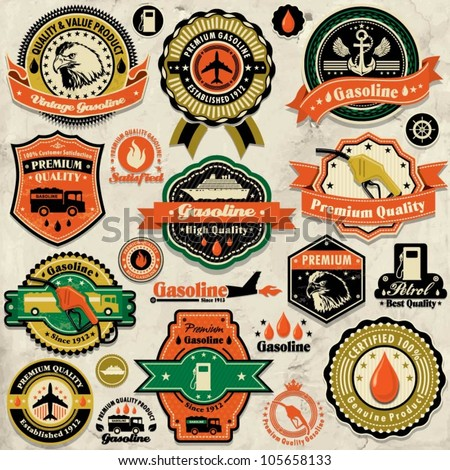 vintage gasoline label set