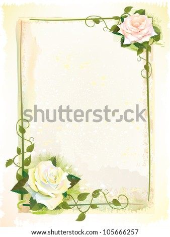 old style  frame with roses