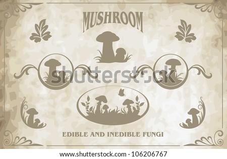 mushroom silhouettes vector