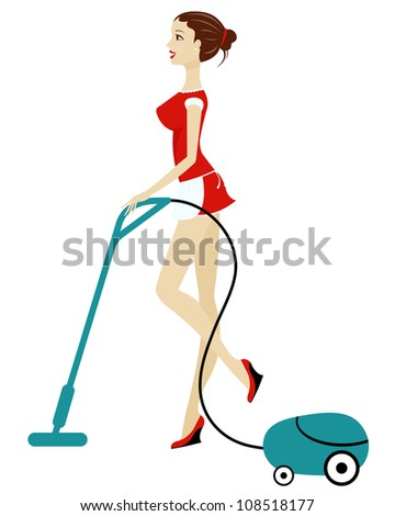 beautiful woman cleaning with