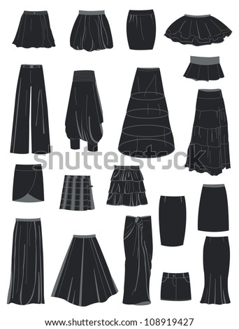 a set of silhouettes of skirts