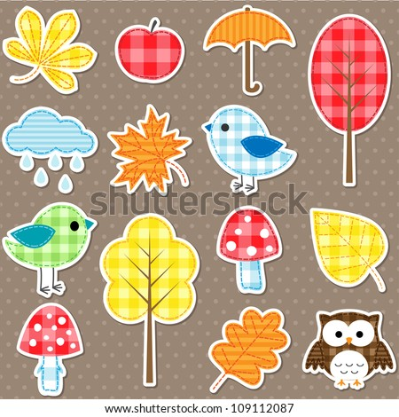 autumn stickers   trees  leafs