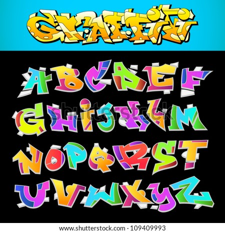 graffiti font alphabet vector