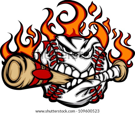 baseball flaming face biting