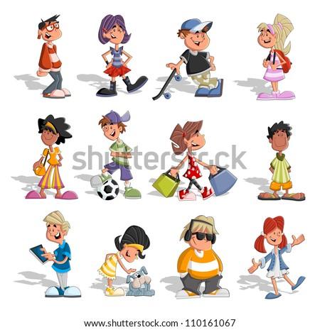 group cartoon people teenagers