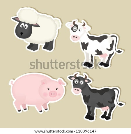 cartoon farm animals paper