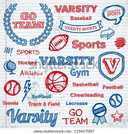 set of hand drawn school sports