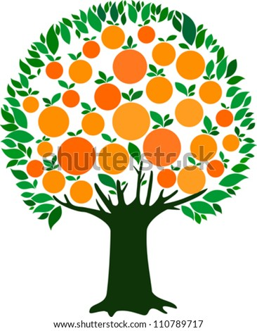orange fruit tree vector Orange Tree Vector