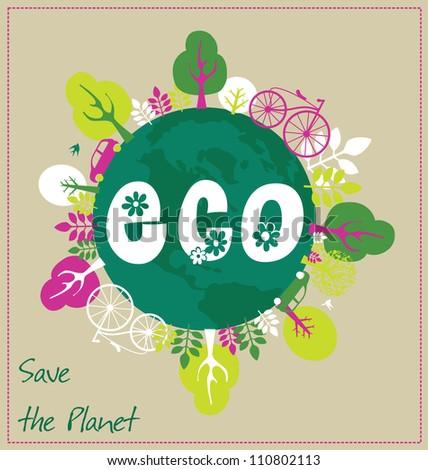 ecology card design vector