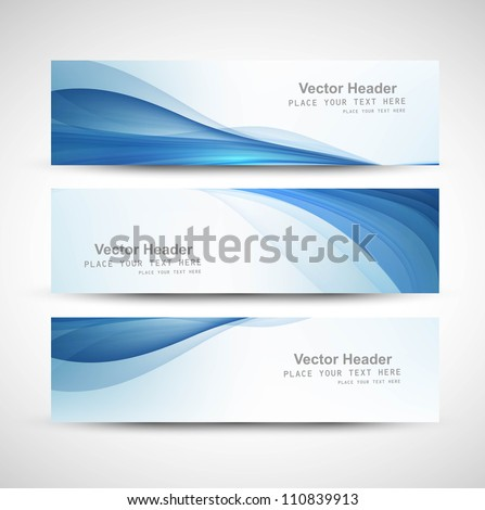 abstract header blue wave whit