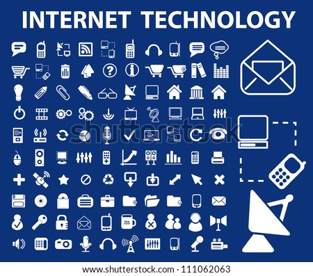 internet technology icons set