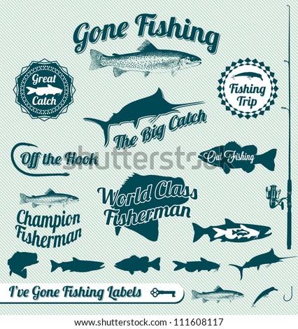 vector set  vintage fishing