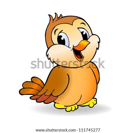 ... Cartoon Sparrow - beautiful little vector bird Yellow Canary Drawing