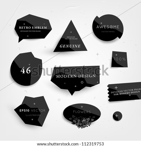 labels vector set  modern style