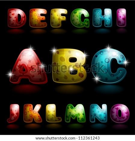 glossy alphabet   shiny letters