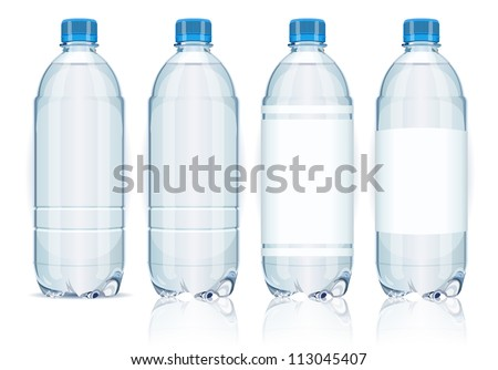 four plastic bottles with