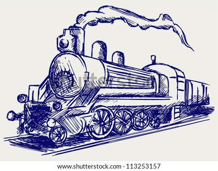 steam train with smoke doodle