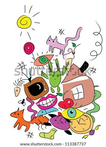goofy doodle monsters