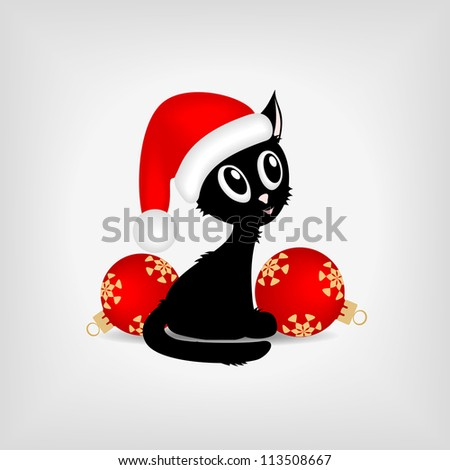 black funny kitty with red