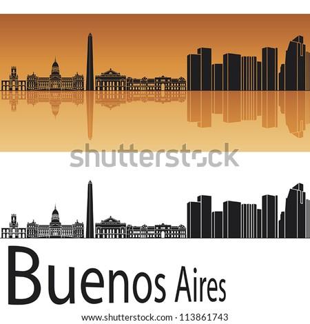 buenos aires skyline in orange