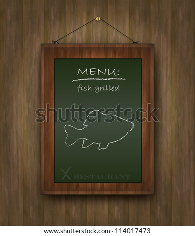 vector blackboard wood menu