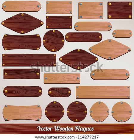 set vector wooden labels