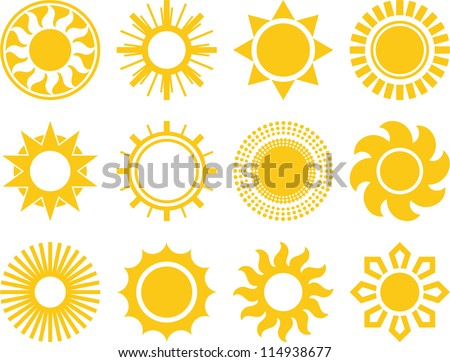 collection of vectorized suns