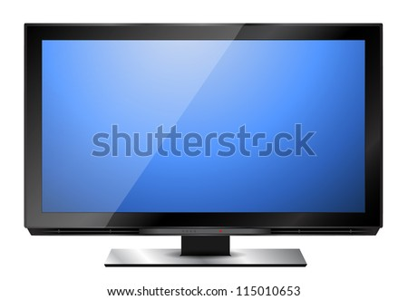 modern hd television with blue