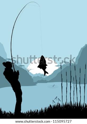 fisherman landscape vector